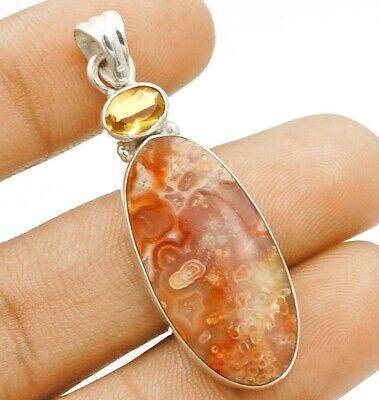 New Arrival Crazy Lace Agate 925 Sterling Silver Pendant Jewelry C27-3