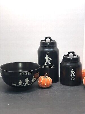 Rae Dunn BOO HAPPY HALLOWEEN TRICK OR TREAT Set, Canisters, Bowl,NWT