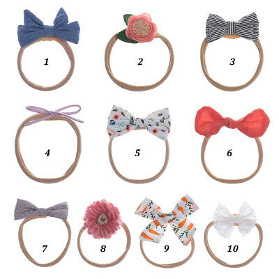 Newborn Baby Headband Infant Girls Toddler Bow Nylon Hair Band Accessories New