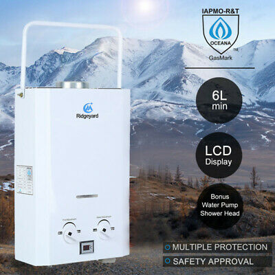 6L Portable Gas Hot Water Heater Shower Camping Caravan Outdoor LPG 2750Pa 4WD