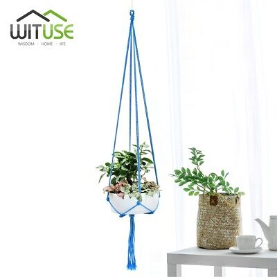Basket Ceramic Planter Hanging Tool Rural Life Balcony Pot Hanger Room Decor 0D