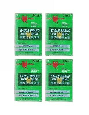 4 x Eagle Brand Medicated Oil 24 ml Liniment For Muscular Aches and Pains