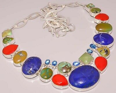 Natural Tibetan Turquoise Lapis Coral 925 Sterling Silver Plated Necklace
