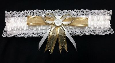 Wedding Garter White & Gold With Pearl Strand And A Rose