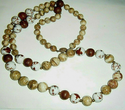 """Vtg Chinese 1/2"""" Porcelain Beads Painted Bird Stone Wood Silver Clasp Necklace"""