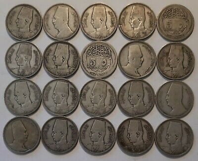 EGYPT / 5 Piastres,Lot of 20 Silver Coins !!