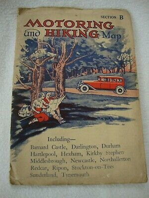 Old Antique Pre-World War Ii  Motoring Hiking Map Of North Yorkshire Cleveland