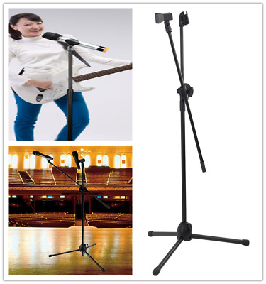 Professional Boom Microphone Mic Stand Holder Adjustable Tripod & 2 Mic Clips UK