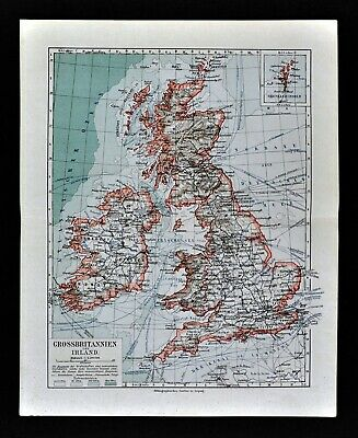 1900 Meyers Map Great Britain Ireland England Scotland London Dublin Edinburgh