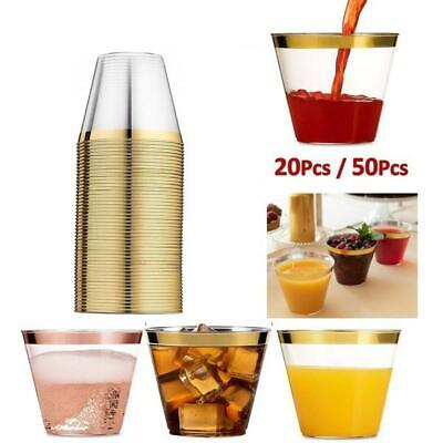 20Pcs Clear Plastic Disposable Cups with Gold Rim Birthday Party Ice Cream Wine