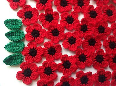 10xNew Crochet Poppies Flowers +4 Leaves Applique Embellishment