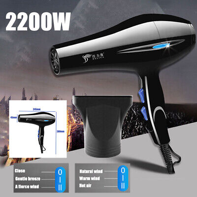 2200W Professional Hair Dryer Household Hairdryer Salon Dry Nozzle Travel Beauty