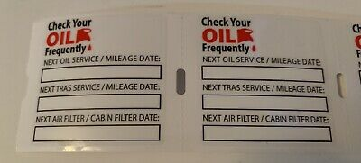 125 Static Cling Oil Change Reminder Stickers Decals  Free Fast Shipping