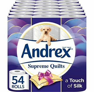 Bulk Andrex Supreme Quilts Toilet Roll 54 Rolls Tissue Paper Plush Layers 4 Ply