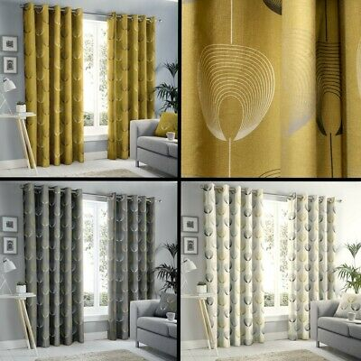 Delta Geometric Floral Fully Lined Eyelet Curtains Grey Natural Ochre Yellow