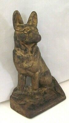 Antique  Cast Iron German Shepard Dog Doorstop / Original Paint .