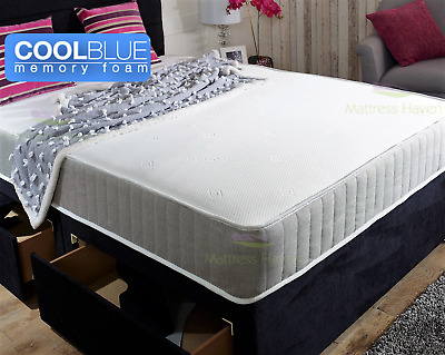 Cool Blue Memory Foam Mattress Sprung 3ft Single 4ft6 Double 5ft King 6ft UK