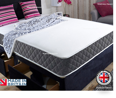 New Grey Memory Foam Topped Sprung Mattress  3Ft 4Ft 4Ft6 Double 5Ft King Uk Mh