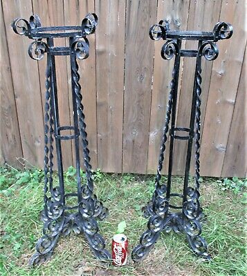 2 Antique Architectural Usa Garden Home Wrought Aluminum Metal Plant Fern Stands