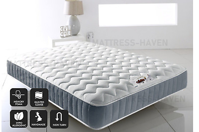 Orthopedic Cool Blue Memory Foam Mattress sprung 3ft Single 4ft6 Double 5ft King