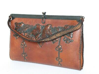 Frame Bag - Leather - Meeker Made Tooled Brown - 1950s - Small