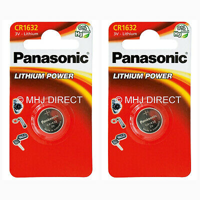 2 x PANASONIC CR1632 CR 1632 ECR1632 Lithium Batteries Coin Cell Use By 2029