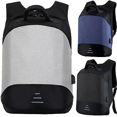 Mens Anti-theft Backpack USB Charger Rucksack Sports Travel Laptop School Bags