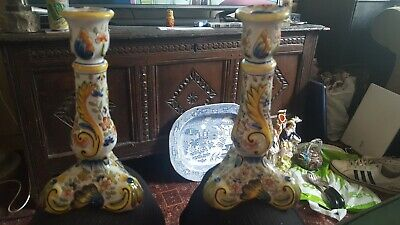 Pair Of Antique Italian Majolica Candlesticks