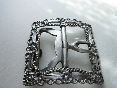 large silver georgian buckle provincial with steel fittings hand chased detail
