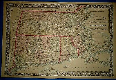 Vintage Circa 1874 MASSACHUSETTS CONNECTICUT RHODE ISLAND Old Antique Original