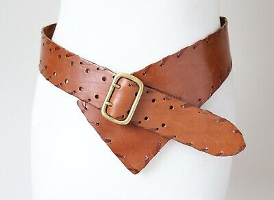 Vintage Leather Belt - Tan Brown Wide - Boho - 1980s - Womens -  Small