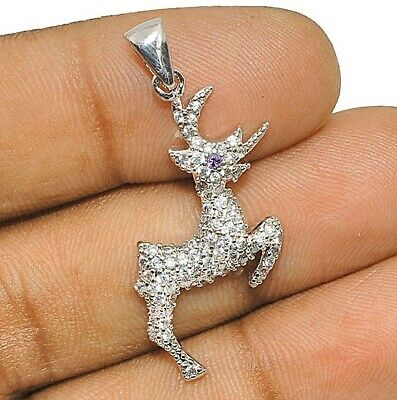 Deer Amethyst & White Topaz 925 Solid Sterling Silver Pendant Jewelry