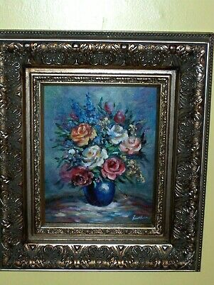 Roses Leaves Bouquet Vase Vintage Original Beucker Painting Blue Red Pink White