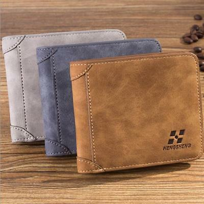 Men PU Leather Bifold Wallet Slim Hipster Frosted Credit Card Inserts Purse WO