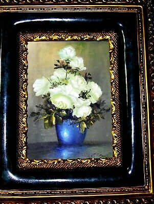 VINTAGE ORIGINAL Robert Cox Oil Painting: Roses Blue Vase Green Light Still Life