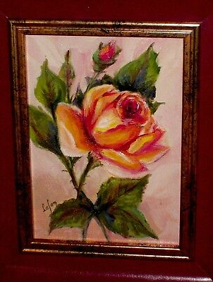 Peach Pink Yellow Rose Green as Still Life Vintage Original Lafon Oil Painting