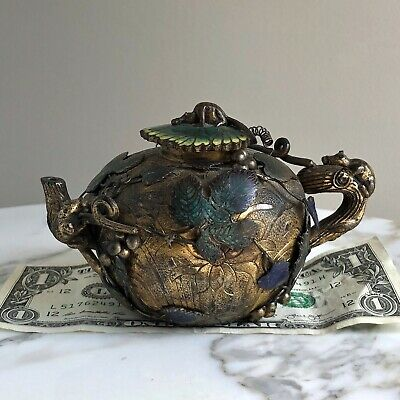 Antique Chinese Bronze+Champleve Enamel Wine Pot/TEAPOT-Qing-Squirrel+Grapes