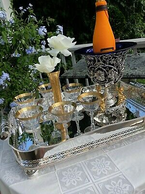 Antique English Victorian Silver Plate Rectangular Gallery Tray – LARGE