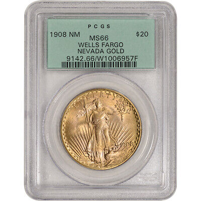 1908 US Gold $20 Saint-Gaudens Double Eagle - No Motto - PCGS MS66 Wells Fargo