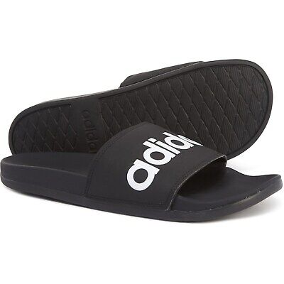 Mens Adidas Adilette Comfort Slides Sandals Black White B42207