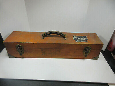Vintage Empty Hard Wood With Leather Handle And Metal Corners Tool Box Case