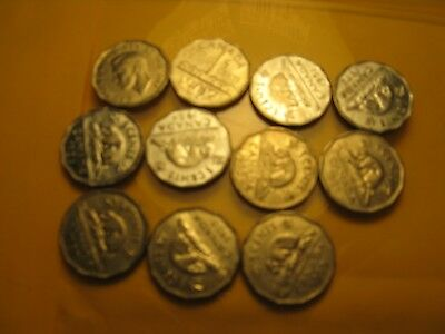 Set Of 11 Canada 5 Cent coins 1951 To 1960.