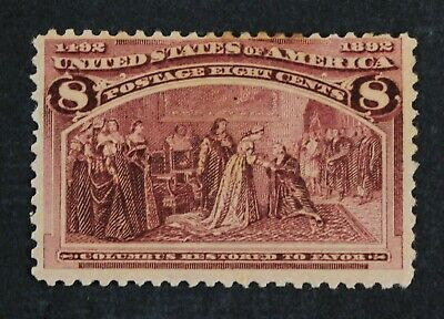 CKStamps: US Stamps Collection Scott#236 8c Columbian Mint H OG Stain