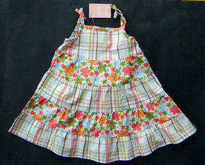 GYMBOREE HULA BABY FLOWERS N PLAID WOVEN DRESS 6 12 NWT