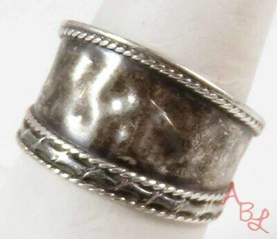 Sterling Silver Vintage 925 Rope Trim Hammered Dome Ring Sz 10 (3g) - 772912