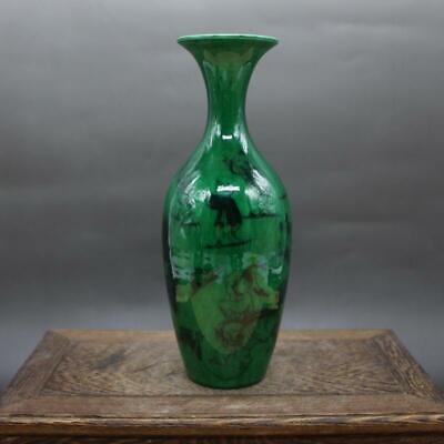 Chinese ancient antique hand make green glaze vase QIANLONG mark s33