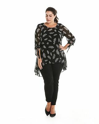 Estelle Clothing Womens Falling Feathers Top in Black/Milk