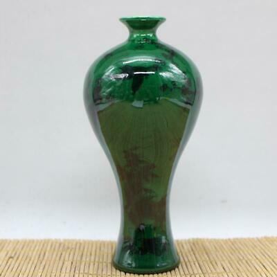 Chinese ancient antique hand make green glaze vase QIANLONG mark s44