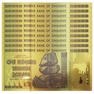 Lot 10 PCS, Zimbabwe 100 Trillion Dollars, Color 24K Gold, FANCY note, UNC