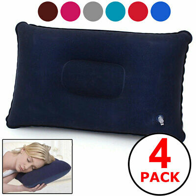 4-PACK Inflatable Lightweight Airplane Pillow Cushion Travel Hiking Camping